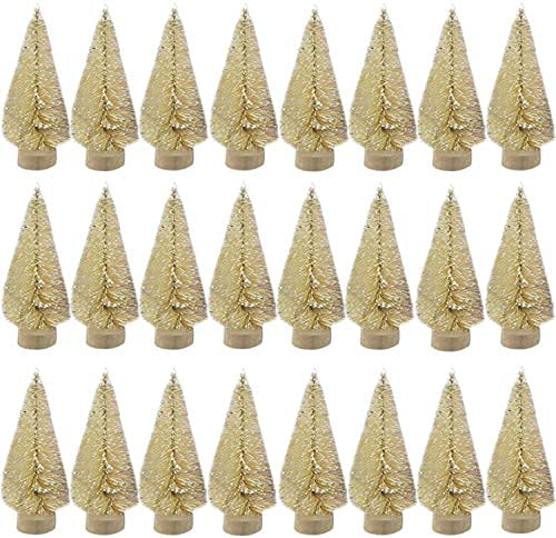 24 Pieces Artificial Mini Christmas sisal Snow Frost Trees with Wood Base Bottle Brush Trees Plastic Winter Snow…