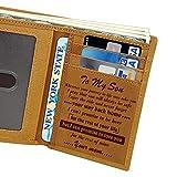 Vtops Cartera personalizada grabada de cuero personalizado para hombres marido, papá, hijo, novio, amor, fiesta, regalos personalizados