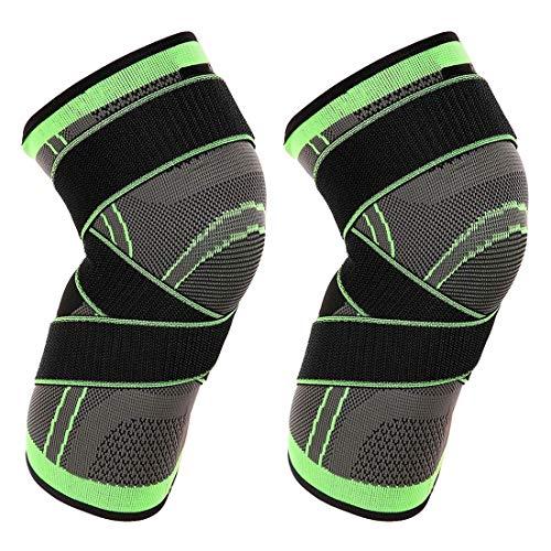 Vitoki Kniebandage Knieorthese Elastische Sportarten Knieschützer 1 Paar für Damen & Männer mit verstellbare Kompressionsgurte Grün L