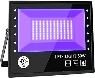 BOSITE Led-blacklight spot, 60 W, uv-blacklight, partyschijnwerper, blacklight met kabel, schijnwerper, IP66 waterdicht, b...