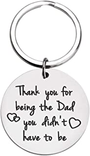 Fathers Day Gifts for Step Dad Father Birthday Gifts Keychain Step Daddy Papa Wedding Gifts Father Bride Groom from Daughter Son Kids Father in Law Thank You for Being My Dad Men Key Ring