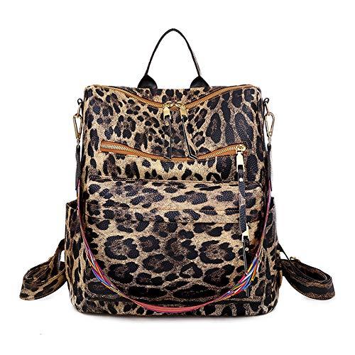 Ligero Impermeable Viaje Bolsa De Cabestrillo,Mujeres Teléfono Sostenible Tener Casual Daypack,Mochila De Ocio De Moda,Bandoleras-Leopard marrón 31x13x34cm(12x5x13inch)