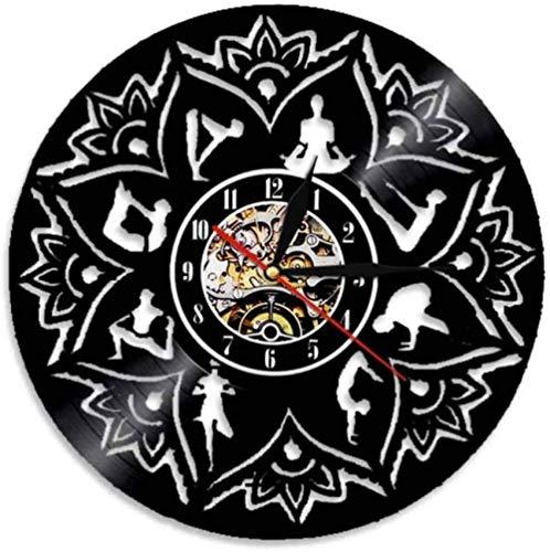 ZZNN Reloj de Pared Lotus Wall Reloj de Pared con Disco de Vinilo de decoración de Pared Relax