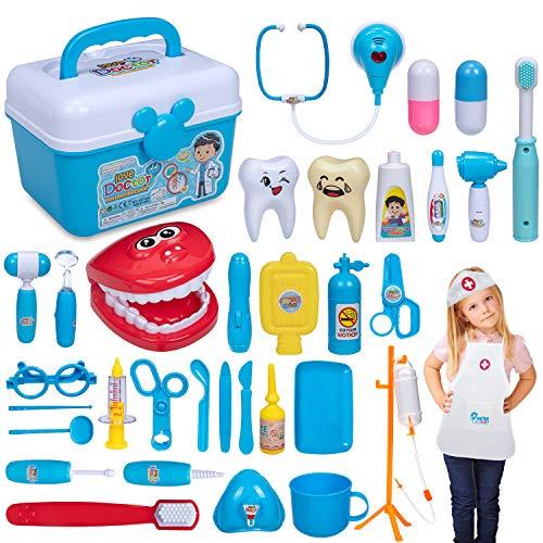 iNeego 37 Teile Arztköfferchen Arztkoffer Arzt Spielzeug, Doktor Dentist Medizinisches Set, Kinderarztkoffer Kinder Rollenspiele Lernspielzeug mit elektronischem Stethoskop für Mädchen und Jungen