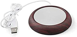 1Pcs USB Coffee Mug Warmer Coaster, Electric Cup Heater, Tea Coffee Beverage Warmer for Office/Home Use (Dark Wood Grain)