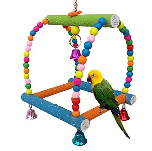 coloré en bois Swing Bird Toy pour Parrot Perroquet Gris d'Afrique perruches cacatoès perruche Amazones Calopsittes inséparables Finch Cage Perchoir jouet Paw broyage Échelle