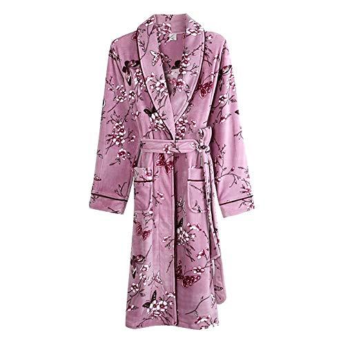 Albornoz de invierno grueso para mujer, de otoño para mujer, tallas grandes, de moda, flor femenina (color: 8 88207 morado, talla: XXL)