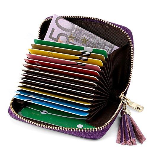 AirZyx Kreditkartenetui Damen Leder RFID Schutz Reißverschluss, Kartenetui Damen Leder RFID Schutz Reißverschluss Mit Geldklammer (Lila)