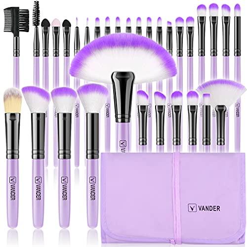 brochas de maquillaje,Vander- Juego de 32 brochas de maquillaje profesionales, base sintética, polvos, correctores, brochas de belleza con bolsa de viaje para cosméticos, Púrpura