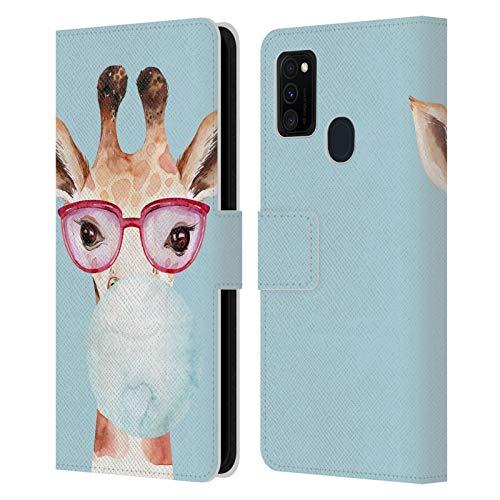 Head Case Designs Officially Licensed Kristina Kvilis Burbuja Azul Gafas de Sol Savanna Carcasa de Cuero Tipo Libro Compatible con Galaxy M30s (2019)/M21 (2020)