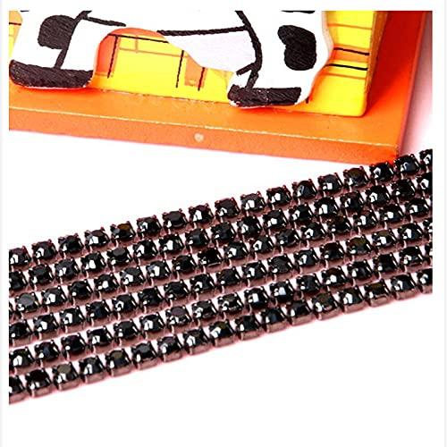 Gran oferta 1M Cadena de diamantes de imitación de cristal de costura SS6 SS8 SS10 SS12 Base de plata Garra Gule en adornos de diamantes de imitación Accesorios de belleza DIY-Black_Width_2mm