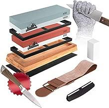 Mega-Loopolis Knife Sharpening Stone set,4 Side Grit 400/1000 3000/8000 Knife Sharpener Whetstone Kit With Cut-Resistant Gloves,Knife,Non-slip Bamboo Base,Flatting Stone,Angle Guide and Leather Strop