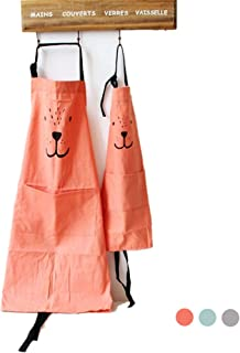 Cotton and Linen Parent Child Apron, Simple and Lovely Apron with Pocket for Painting and Cooking, Artist Apron & Chef Apron, Pack of 2 (Orange)