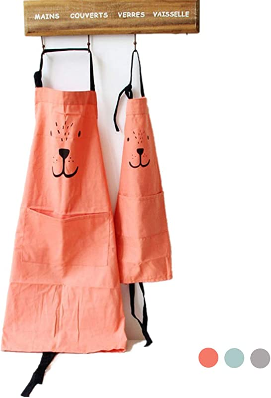 Cotton And Linen Parent Child Apron Simple And Lovely Apron With Pocket For Painting And Cooking Artist Apron Chef Apron Pack Of 2 Orange