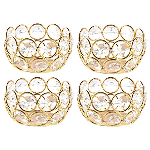 DUOBEIER Gold Votive Candle Holders Set of 4-Speckled Gold Crystal Tealight Candle Holder Bulk- Ideal for Wedding Centerpieces & Home Decor