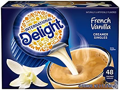 International Delight, French Vanilla, Single-Serve Coffee Creamers, 48 Count , Shelf Stable Non-Dairy Flavored Coffee Creamer, Great for Home Use, Offices, Parties or Group Events