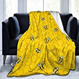 FeHuew Honeycomb Cute Bee Yellow Flannel Fleece Throw Blanket 50x60 inch Living Room/Bedroom/Sofa Couch Warm Soft Bed Blanket for Kids Adults All Season