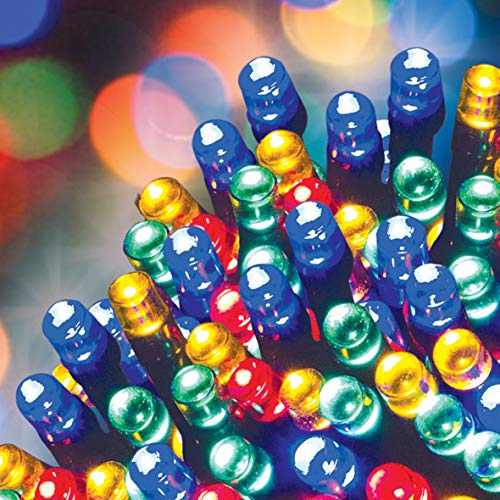GardenKraft 2 Pack LED String Lights / Solar Powered / Outdoor Lighting / IP44 Weatherproof / Various Colours and Sizes (2PK of 100, Multicoloured)