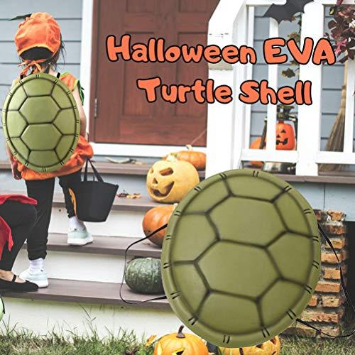 Disfraz de Dibujos Animados de Concha de Tortuga Armadura de Espalda de Tortuga Verde Disfraz de Cosplay Divertido para niños y Adolescentes Accesorios para Fotos de Fiesta para Carnaval Halloween