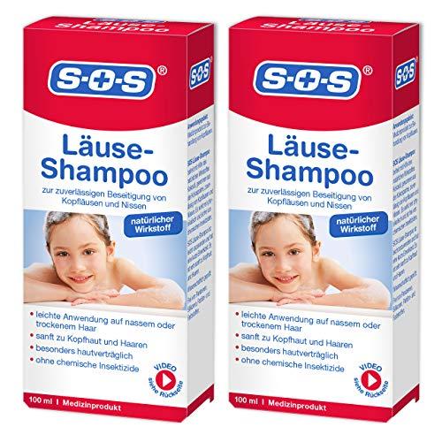 SOS Läuse-Shampoo, zuverlässige Befreiung von Kopfläusen und Nissen, besonders hautverträgliches Läuse Shampoo mit kurzer Einwirkzeit und natürlichem Wirkstoff, 2 x 100 ml