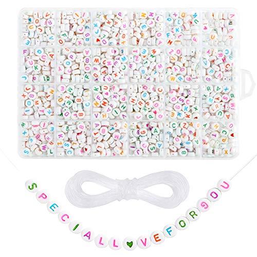 Litthing Perle di Lettera Acriliche Giocattoli per Bambini Perline di Plastica Artigianato di Gioielli Fai da Te Collana da Bracciale a Fare la Corda da A a Z e Amore 1620Pcs 7x4mm 10m (Multicolore)