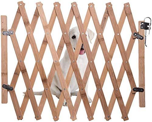 YLLN Puerta de Seguridad para Perros, Valla retráctil de Madera para Perros,...