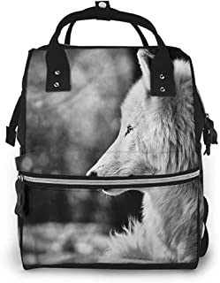 Diaper Bag Backpack for Mom and Dad Zippered Pocket, Wolf Wolf Portrait, Large Capacity, Waterproof and Stylish