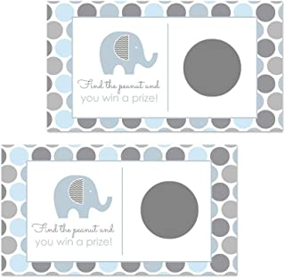 Elephant Baby Shower Scratch Off Games (Pack of 28 Cards) Blue and Grey Little Peanut Party Theme