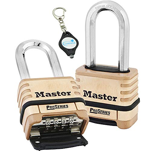 Master Lock 1175DLH 2-1/4in (57mm) Wide ProSeries Brass Resettable Combination Padlock, 2 Pack Bundle W/Lumintrail Key Chain Light