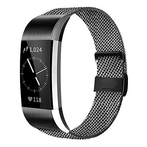 AK Cinturino Compatible per Fitbit Charge 2 Cinturino Metallo Regolabile Sport, Cinturino Milanese in Acciaio Inossidabile Cinghia Bracciale per Uomo e Donna (Black, Large)