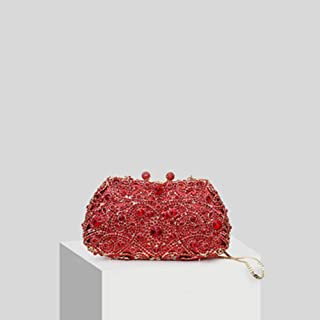 Fashion Ms. Big Red Hibiscus Wedding Bag Atmospheric Rhinestone Banquet Chain Bag Clutch Bag (Color : Pink)