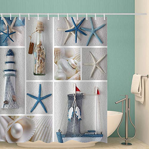 Weeier 72 x 72 inches Fabric Shower Curtain with Hooks Ocean Theme Blue Sea Star Ivory Conch Sands Bottle Shell Fish Lighthouse Windows Square Bathroom Decor Waterproof Machine Washable