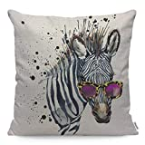 Wozukia Funny Zebra Throw Pillow Cover Wearing Sunglasses Watercolor African Nature Tropical Animal Wildlife Square Pillow Case Cushion Cover for Home Car Kitchen Decorative Cotton Linen 18x18 Inch