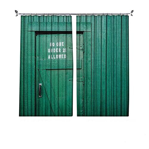 Cortinas plisadas con aislamiento térmico azulado, monocromáticas vintage de madera local irlandesa pub rústica con frase de advertencia, para travesaños y rieles, color verde azulado