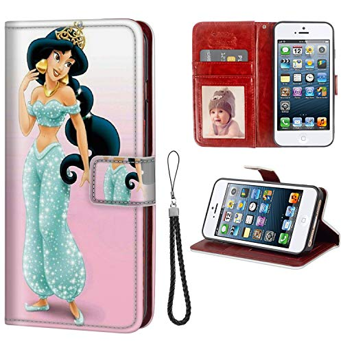 DISNEY COLLECTION Wallet Phone Case iPhone 5C Aladdin Disney Princess Jasmine Premium PU Leather Cash Card Slots Wrist Strap Lanyard Design Excellent
