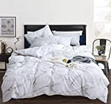 CLOTHKNOW White Marble Duvet Cover Set Queen Cotton Grey White Bedding Sets Full Girls Teens Bed Set Modern Abstract Quilt Set 3 Pcs Bedding Cover Sets with Zipper Closure Marble Queen Bedding