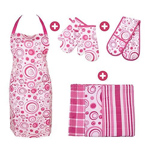 BestU 4 in 1 Küchenset mit Kochschürze Ofenhandschuhe Topfhandschuhe Geschirrtücher | Premium Baumwolle | Set für Küche - Kochen Backen | Geschenk für Frauen (Set 1)
