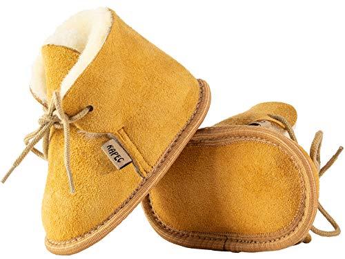 Kapeć Weiche Bequeme Schuhe aus Lammfell Modell Frank mit Klettverschluss (Honigfarbe, 18)