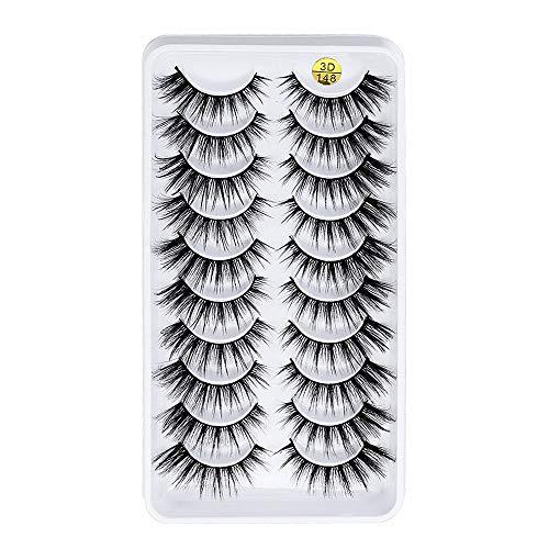 SKONHED 10 Pairs Eye Makeup Pure Hanmdade Crisscross Fluffy Wsipy Thick Long 3D Faux Mink Hair False Eyelashes Eyelashes Extension Tools(3D-148)