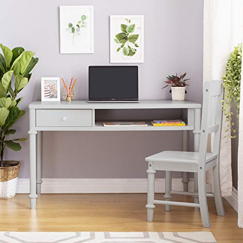 Guidecraft Dahlia Desk and Chair - Gray: Children's Wooden Study Table Set, Kids Bedroom Furniture