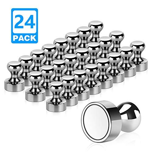 Temporaryt Neodym Magnete, 24 Stück Extrem Stark Metall Magneten 12 x 16mm - Edelstahl Kegelmagnete Pinnwand Magnete für Magnettafel, Whiteboard, Kühlschrank usw. mit Aufbewahrungs Box