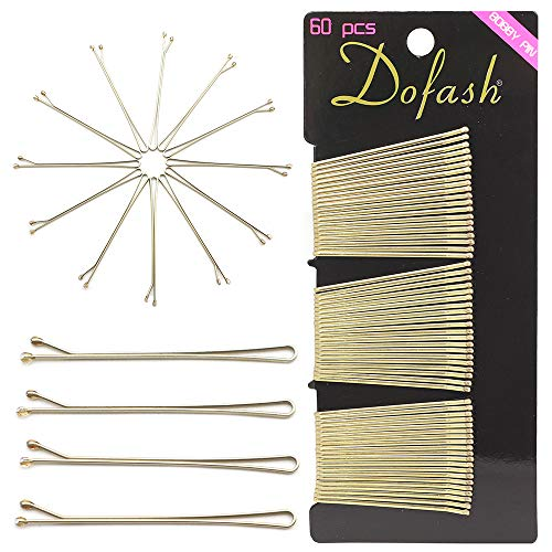 Dofash 60 Stück Blond Metall Flach Haarklammern (2Inch/5CM) Haarnadeln,Klassische Bobby Pins für Mädchen Haarzusätze (Blond)