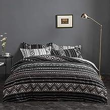 طقم اغطية سرير هندي أبيض وأسود من الألياف الدقيقة - مقاس مفرد، غطاء لحاف 3 قطع و2 كيس وسادة، لا لحاف
