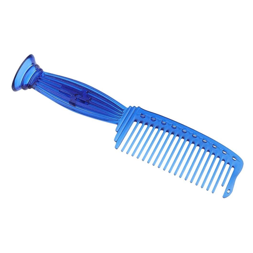 苗絶対のキャベツF Fityle ヘアコーム ヘアブラシ プロ ヘアサロン 理髪師 ワイド歯 プラスチック 5色選べ - 青