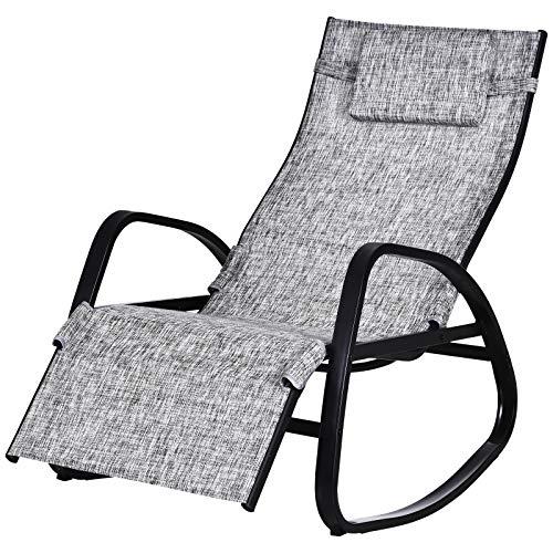 Outsunny Schaukelstuhl mit Verstellbarer Rückenlehne und Fußstütze, Schaukelliege mit Kopfkissen, Gartenliege, Schwungliege, Textilene, Grau, 90 x 64 x 110 cm