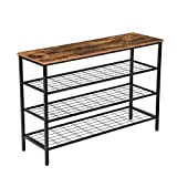 HOOBRO Shoe Rack, 4-Tier Shoe Shelf, Industrial Shoe Storage Organizer with 3 Metal Mesh Shelves, Ideal for Entryway, Hallway, Closet, Bedroom, Easy Assembly, Rustic Brown BF04XJ01