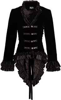 Womens Black Velvet Victorian Steampunk Tail Jacket with Back Lacing