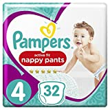Pampers - Active Fit Pants - Couches-culottes Taille 4 (9-15 kg) - Pack Géant (x32 culottes)