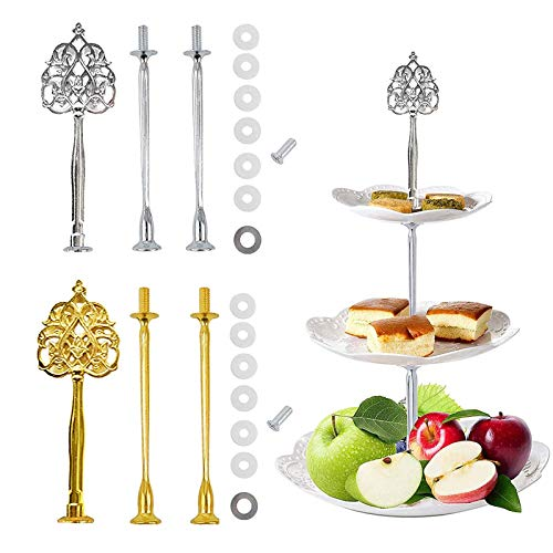 2 Set Cake Stand Kit Rods Wedding Cake Stand Cake Stand Center Hole Cutter Gold Silver with Screws And Washers for 3 Tier Etagere Buffet