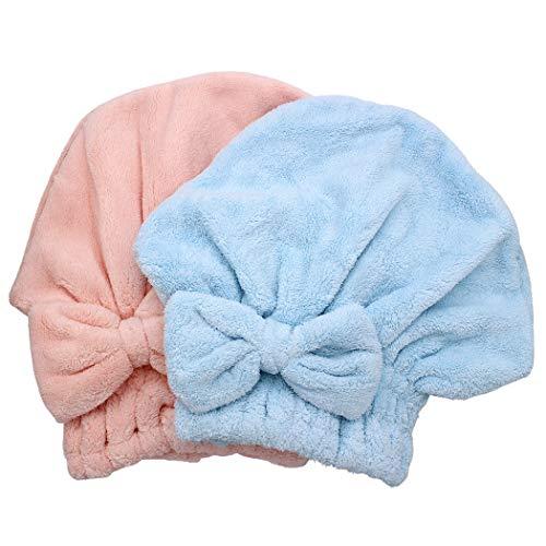 Dianoo 2 x Haartrocknungshauben aus Mikrofaser, ultra saugfähig, schnell trocknende Haarturban Wickeltücher, weiche Duschhaube für langes dickes Haar, Frauen und Mädchen (rosa und blau)